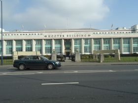 Art Deco beauty of the Hoover Building and its abandoned Tesco trolleys..