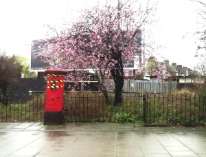 Sorry looking postbox at North Acton - it's been taped up for years!