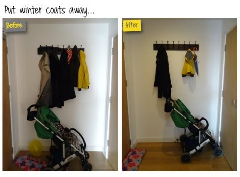 Declutter hallway coat rack