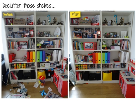 Declutter Shelves