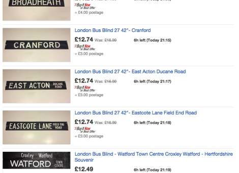Bus Destination Blinds - Ebay
