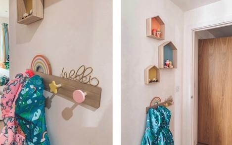 Vertbaudet rainbow coat rack and house shelf