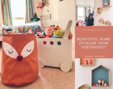 Beautiful Home Storage Products from Vertbaudet | Fox basket, storage trunks, rainbow coat rack, house shelves pastel